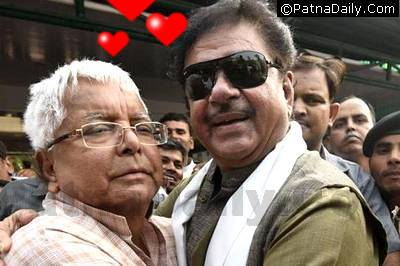 RJD leader Lalu Prasad Yadav with BJP MP Shatrughan Sinha.