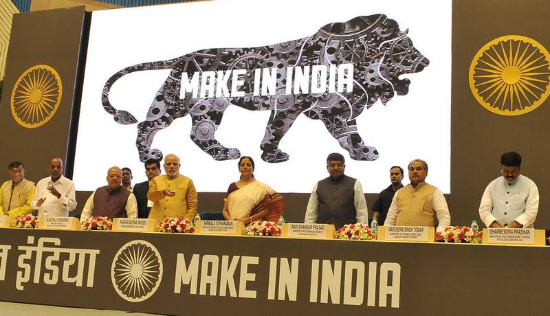 Prime Minister Narendra Modi unveiling Make in India campaign in New Delhi.