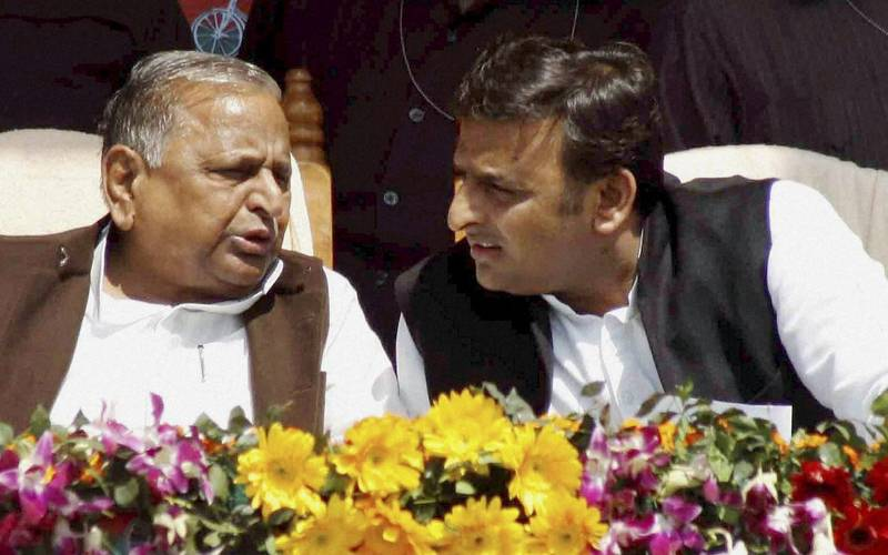 Mulayam Singh Yadav and his son Akhilesh Yadav.