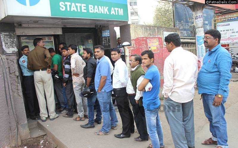 Crowd outside an ATM in Patna after demonetization of Rs. 500 and Rs. 1000 notes.