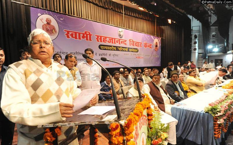 RJD President Lalu Prasad Yadav speaking at a caste-based meeting in Patna (file photo).