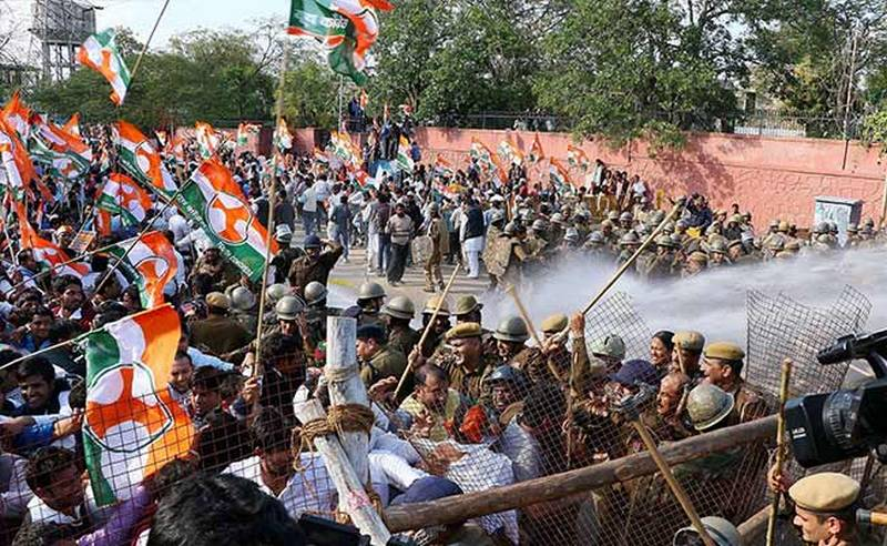 Protest in Jaipur over Land Acquisition Bill on March 3.