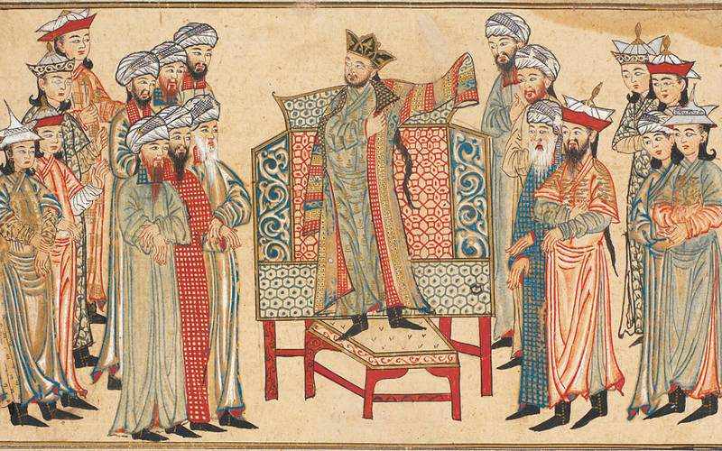 Mahmud of Ghazni receiving a richly decorated robe of honor from the caliph al-Qadir in 1000. Miniature from the Rashid al-Din's Jami' al-Tawarikh. Edinburgh University Library. (Courtesy - Wikipedia)