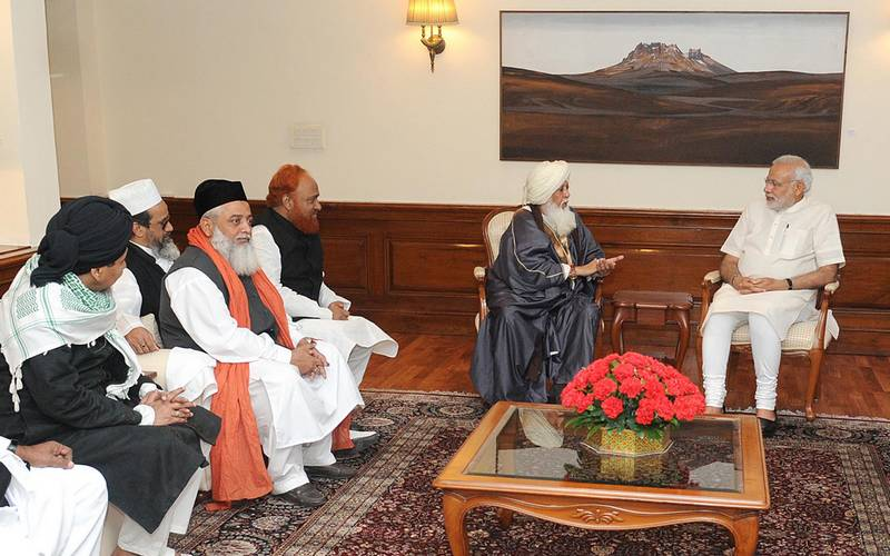 Prime Minister Narendra Modi holding meeting with prominent Muslims leaders in Delhi in April 2015.