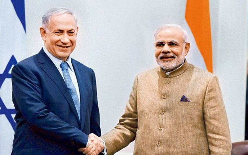 Israel and Indian Prime Ministers Benjamin Netanyahu and Narendra Modi.