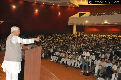 Chief Minister Nitish Kumar addressing the members of backward castes in Rajgir (file photo).