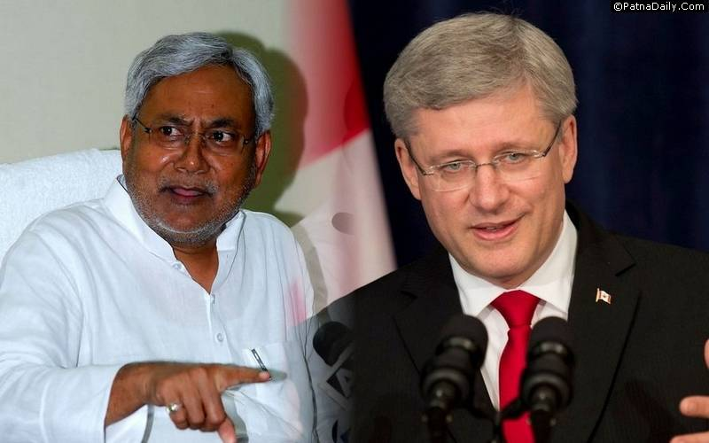 Bihar CM Nitish Kumar and former Canadian PM Stephen Harper.