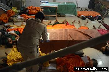 Dead bodies of stampede victims at the PMCH.
