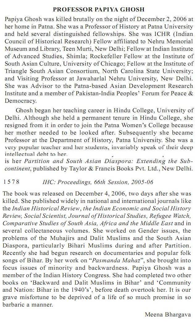 Obituary in Indian History Congress