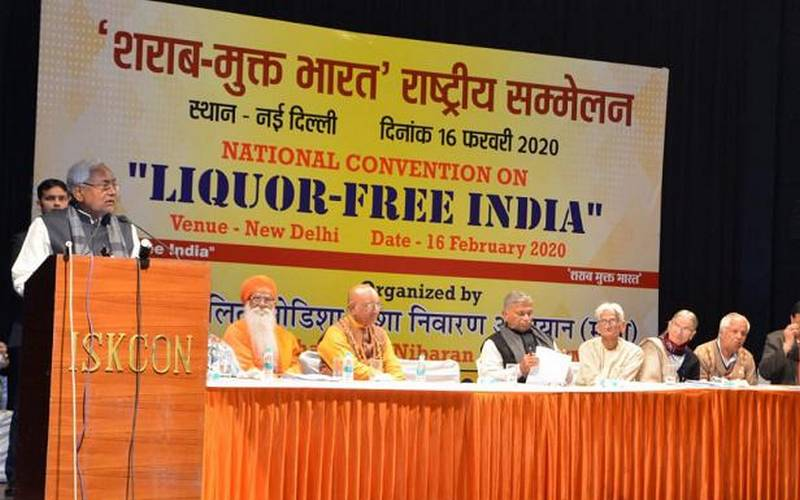 Chief Minister Nitish Kumar advocating ban on alcohol in Delhi on Sunday.