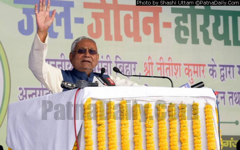 Chief Minister Nitish Kumar at a recent Jal Jeevan Hariyali campaign in Bihar.