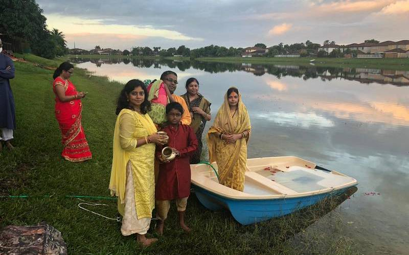 Biharis celebratring Chhath in Florida, USA. (2020)