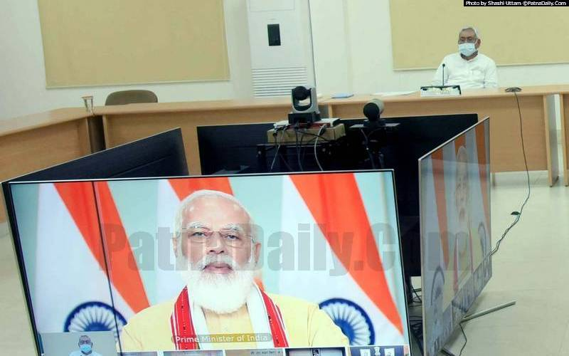 PM Narendra Modi holding virtual meeting with CM Nitish Kumar and other senior Bihar officials.