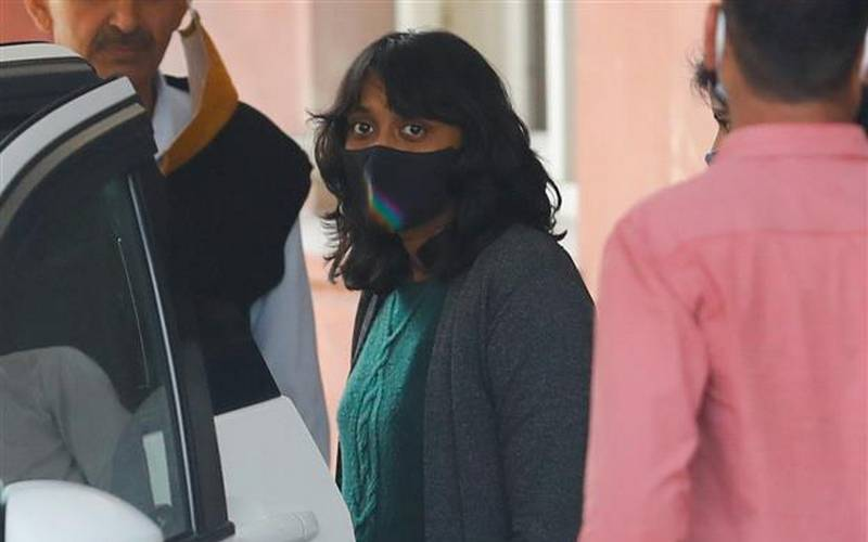 Disha Ravi leaving Delhi Court on Tuesday.