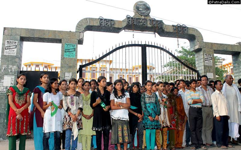 Girls standing outside Bihar School Examination Board (BSEB) office in Patna.