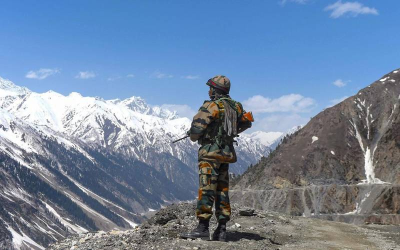 Indian soldier patrolling at Indo-China border in Ladakh.