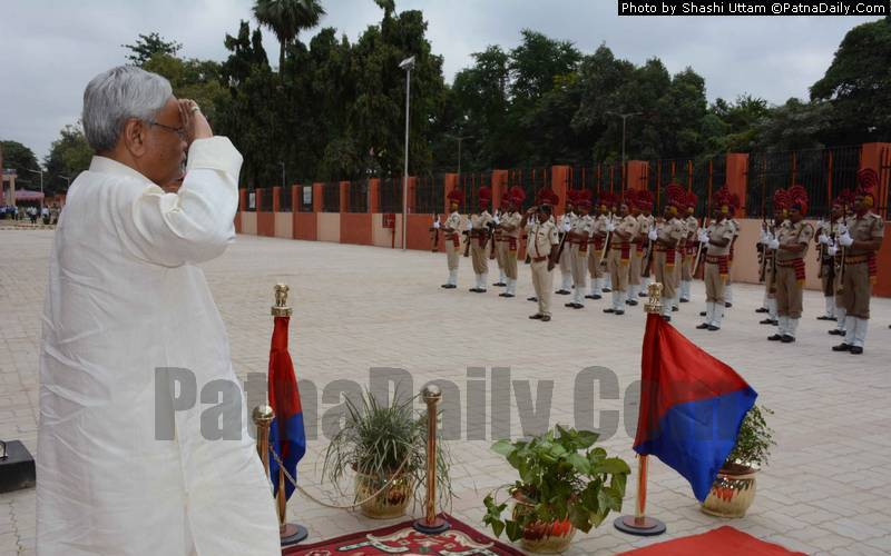 Nitish taking salute from Bihar police in Patna.
