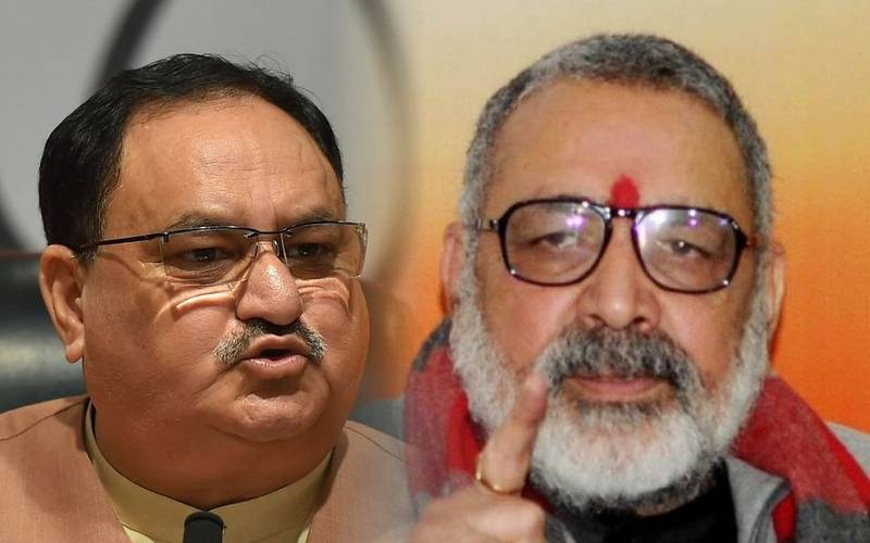 BJP President JP Nadda and Begusarai MP Giriraj Singh.